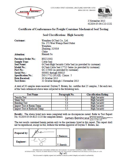 GC-C5003 ISO 17712